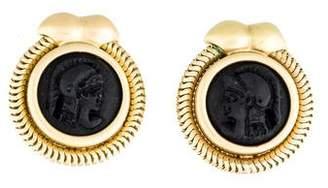 18K Cameo Ear Clip Earrings