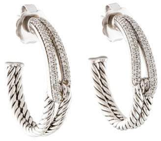 David Yurman Diamond Labyrinth Hoop Earrings silver Diamond Labyrinth Hoop Earrings