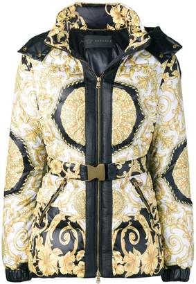 Versace printed hooded padded jacket
