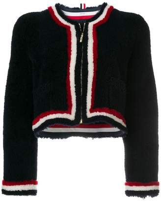 Thom Browne Dyed Shearling Cardigan Jacket