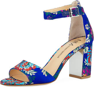 Neiman Marcus Amaranta Floral Satin Sandals, Blue