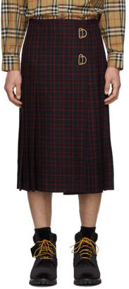 Burberry Navy and Red Wool Arroux Kilt