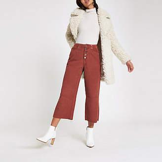 River Island Dark red Alexa crop cord wide leg trousers