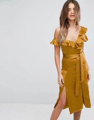 Lavish Alice Gold Satin Asymmetric Frill Midi Dress $127 thestylecure.com