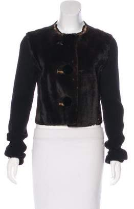 Lanvin Fur Cropped Cardigan