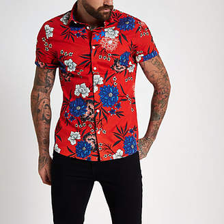 River Island Red floral print short sleeve shirt
