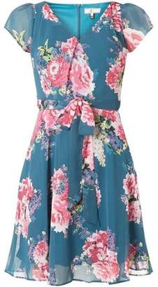 Dorothy Perkins Womens **Billie & Blossom Petite Teal Chiffon Skater Dress