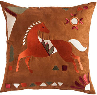"Hiend Accents Embroidered Horse 18""x18"" Pillow"