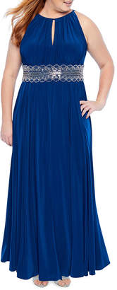 R & M Richards Sleeveless Embellished Halter Gown - Plus
