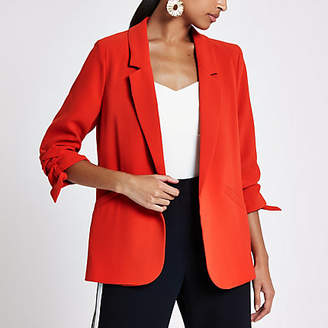 River Island Bright red ruched sleeve blazer