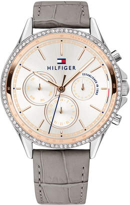 Tommy Hilfiger Women Gray Leather Strap Watch 38mm