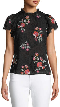 Rebecca Taylor Mock-Neck Floral-Embroidered Lace Blouse