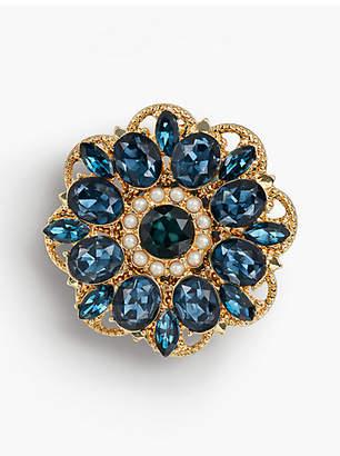 Talbots Floral Crystal Statement Brooch