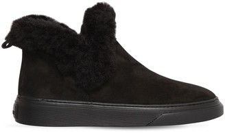 Hogan 60MM FAUX FUR TRIM NUBUCK ANKLE BOOTS