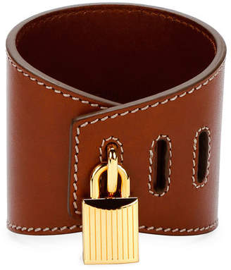 Tom Ford Large Lock Leather Cuff Bracelet