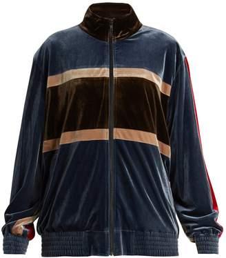 KOCHÉ Contrast-panel velvet jacket