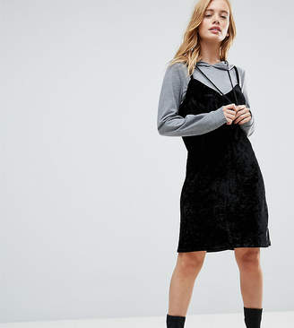 Noisy May Petite 2 In 1 Sweat Velvet Dress With Hood