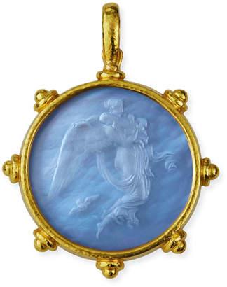 Elizabeth Locke Angel Glass Intaglio 19k Gold Pendant
