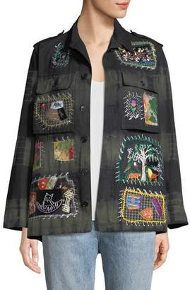 Libertine Button-Front Embroidered-Patchwork Army Jacket