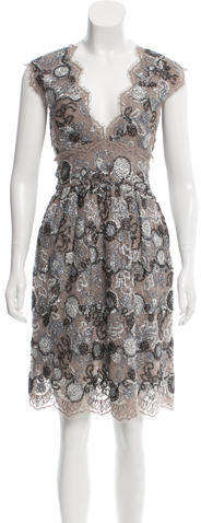 Burberry Burberry Lace Metallic-Accented Dress