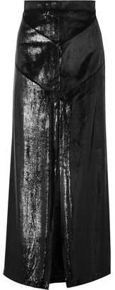 Michael Lo Sordo Coated-velvet Maxi Skirt