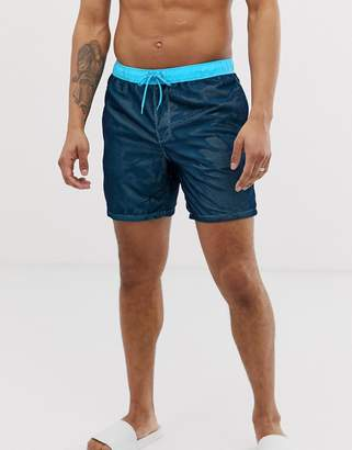 Asos Design Swim Shorts In Blue With Mesh Overlay In Mid Length