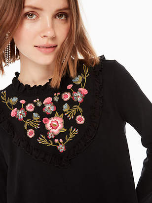 Kate Spade Embroidered mixed media top