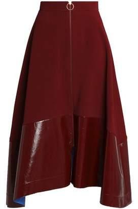 Roksanda Oriana Faux Patent Leather-Paneled Crepe Midi Skirt