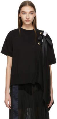 Sacai Black Lace Up Sweatshirt