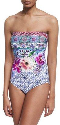 Gottex Le Jardin Floral-Print Bandeau One-Piece Swimsuit $178 thestylecure.com