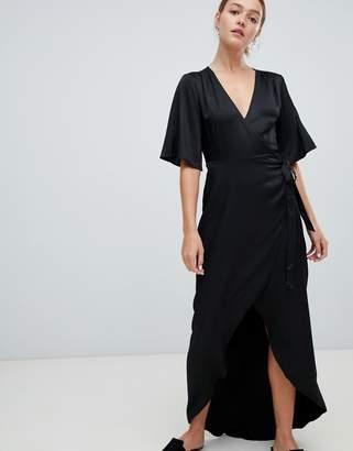 Minimum Moves By Flutter Sleeve Maxi Wrap Dress