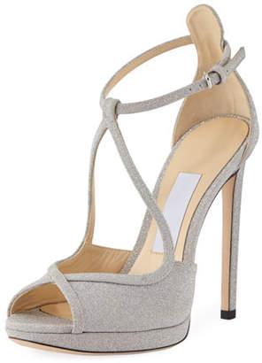 Jimmy Choo Fawne Glitter Leather 120mm Sandal