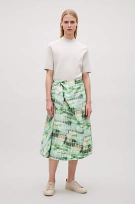 Cos PRINTED HIGH-WAIST WRAP SKIRT