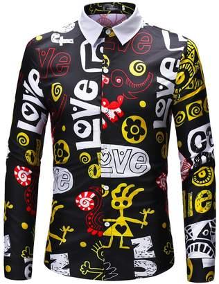 JJCat Men's Button-Down Collar Long Sleeve Magic Words Print Casual Shirts(M,)