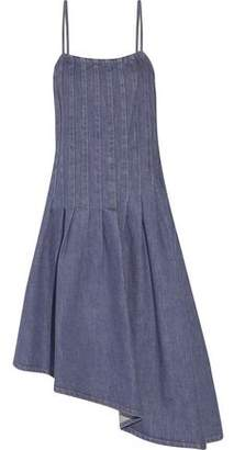 Suno Asymmetric Pintucked Denim Dress
