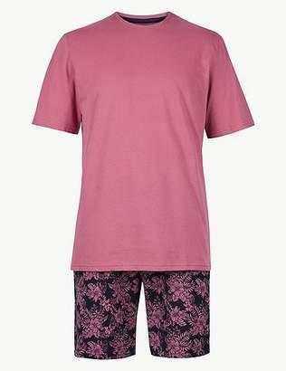 Marks and Spencer Pure Cotton Printed Pyjama Shorts Set