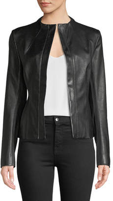 Theory Sculpted Zip-Front Bristol Lamb Leather Jacket