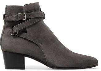 Saint Laurent - Blake Suede Ankle Boots - Dark gray $895 thestylecure.com