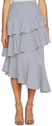CeCe Striped Seersucker Tiered Skirt