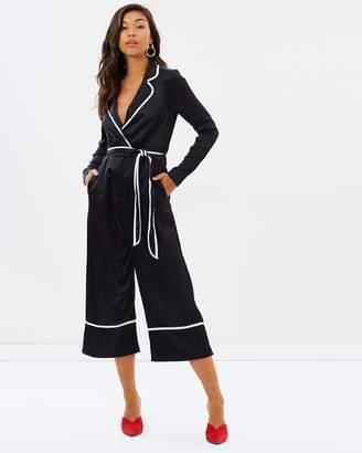Missguided Pyjama Contrast Culotte Jumpsuit
