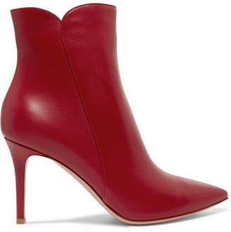 Gianvito Rossi Levy 85 Leather Ankle Boots - Red