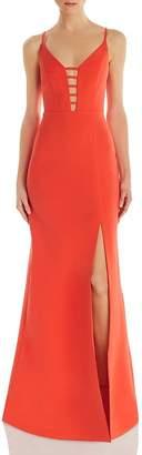BCBGMAXAZRIA Cutout Crepe Gown