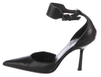 Gucci Leather Pointed-Toe Ankle Strap Pumps Black Leather Pointed-Toe Ankle Strap Pumps