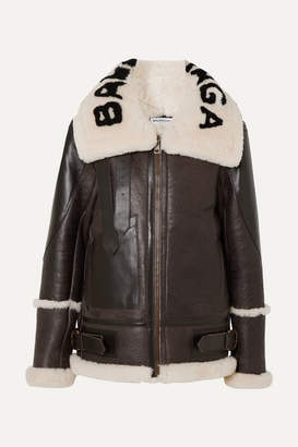 Balenciaga Le Bombardier Oversized Shearling Jacket - Brown