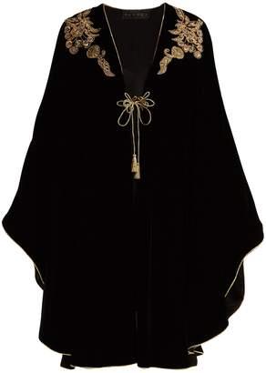 DUNDAS Bead and sequin-appliqué velvet cape