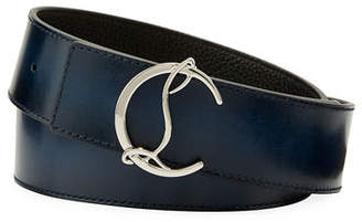 Christian Louboutin Men's Reversible CL Logo Leather Belt