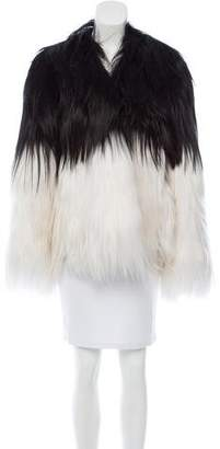 Rodarte Colorblock Shearling Coat