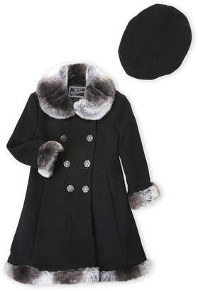 Rothschild (Toddler Girls) Two-Piece Black Faux Fur Trim Coat & Hat Set