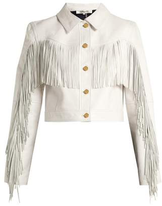 Diane von Furstenberg Cropped Fringed Leather Biker Jacket - Womens - White