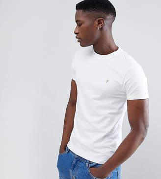 Farah Muscle Fit T-Shirt with F Logo in White